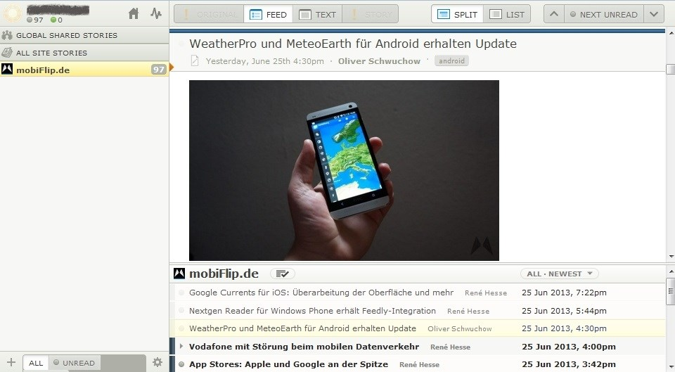 Android feed feedly feeds Google newsblur reader rss
