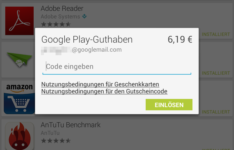 Android Google guthaben play