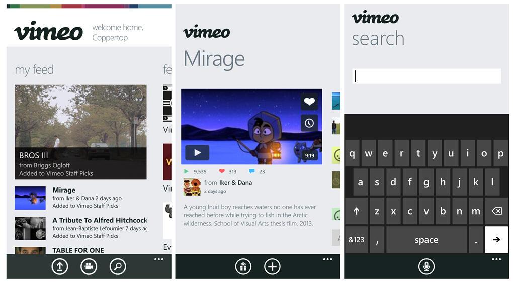 app microsoft videos Vimeo Windows Phone