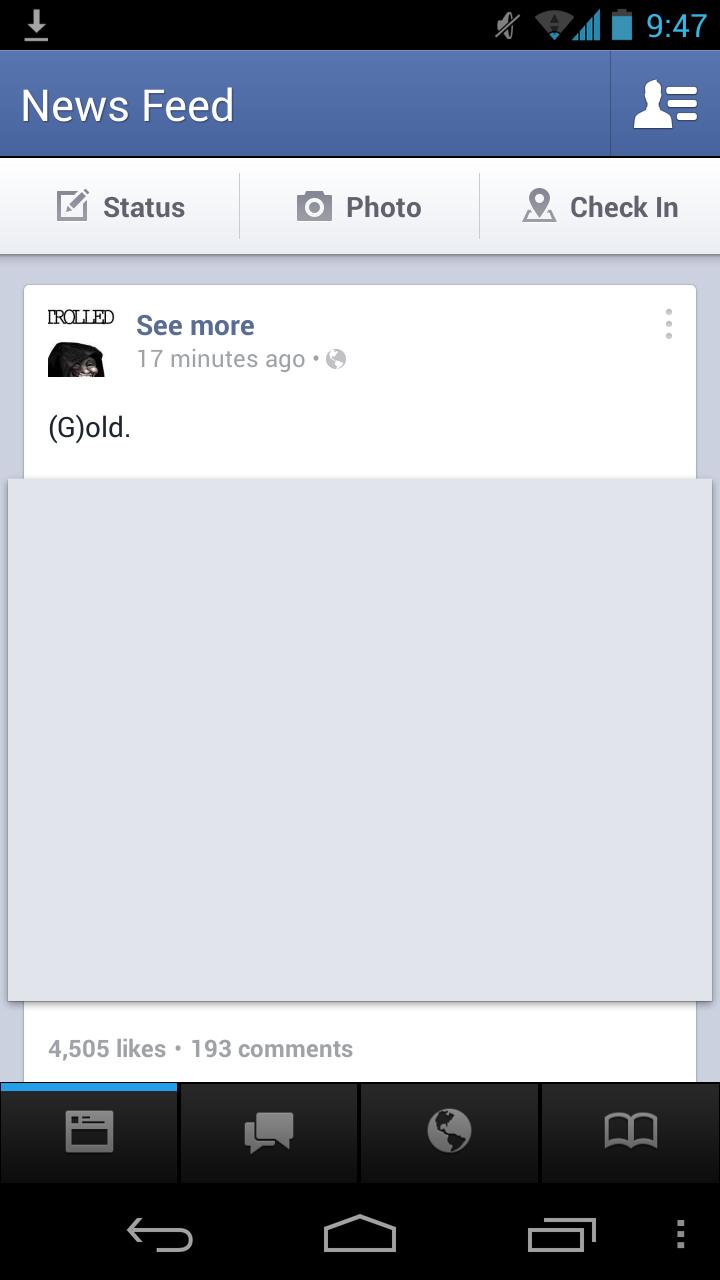 Android beta facebook menü