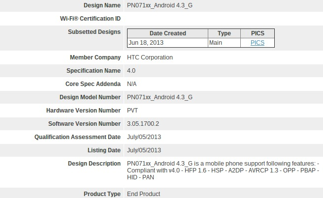 Android Android 4.3 Bluetooth google edition HTC HTC One Leak