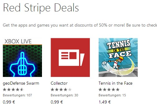 aktion deal fun Game red stripe Windows Phone
