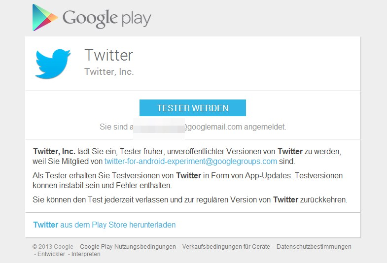 Android beta twitter