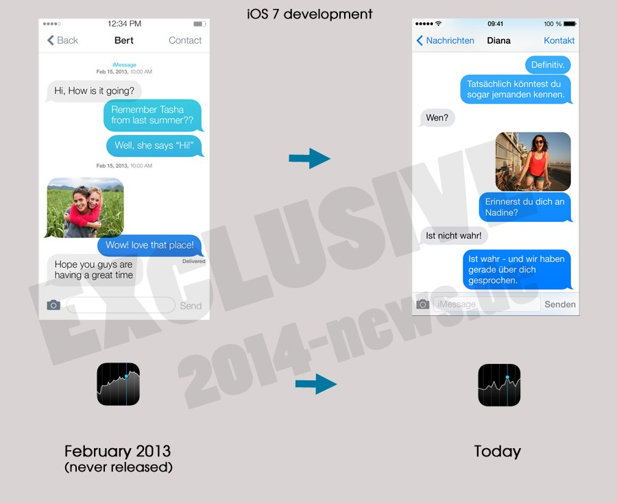 So sah iOS 7 in der Entwicklung aus
