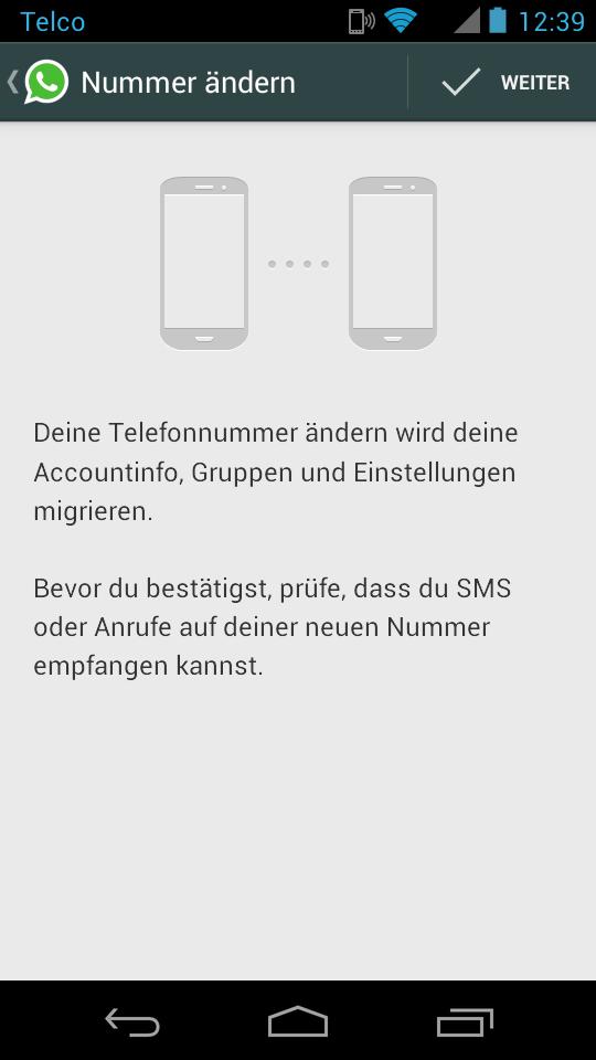 Android rufnummer Update whatsapp
