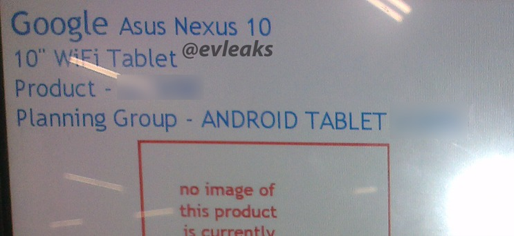 Android Asus evleaks Google Leak Nexus 10 tablet