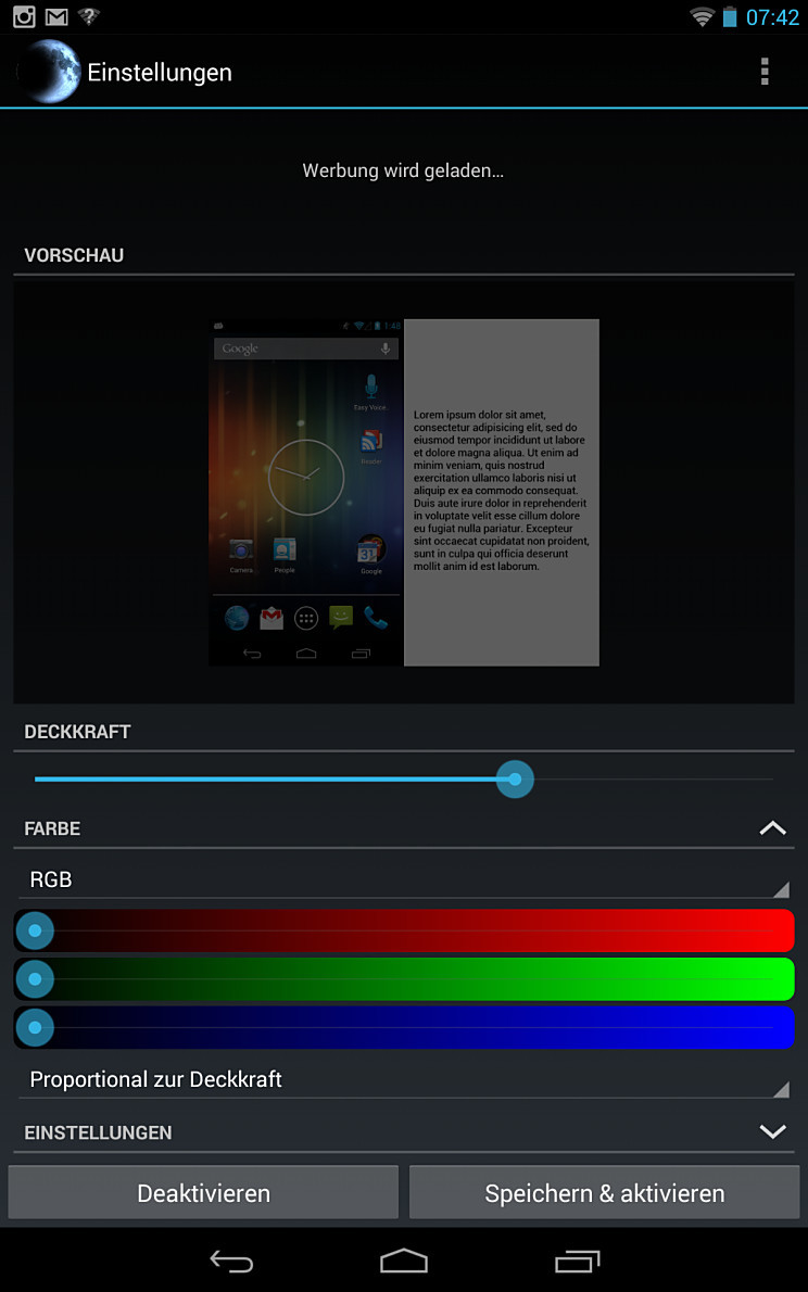 Android app Bildschirm screen