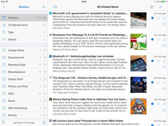 feed feedly iOS iPad reader tablet Update