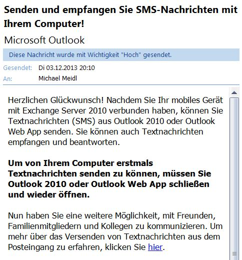 Android Exchange microsoft outlook SMS