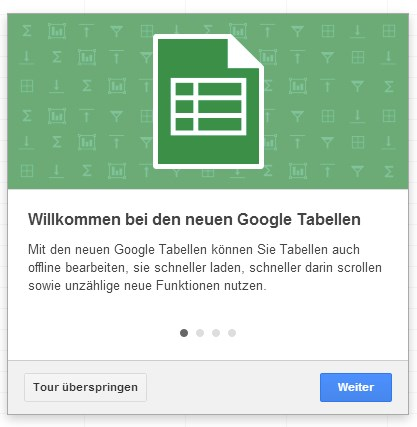 dienste docs drive Google office tabellen Update