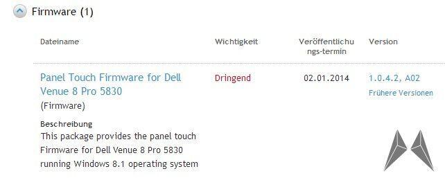 Dell Firmware Update venue 8 pro Windows Windows 8