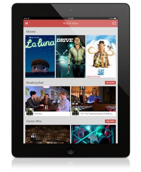 Apple film Google iOS play TV Video