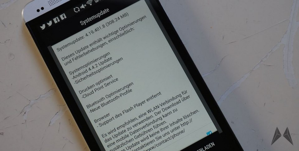 Android Google HTC kitkat one Update