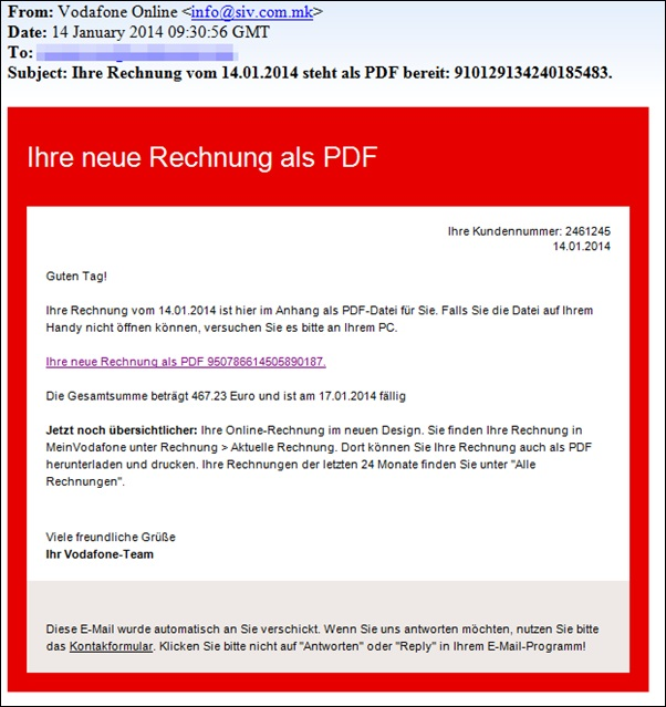 mail PDF phising Vodafone warnung