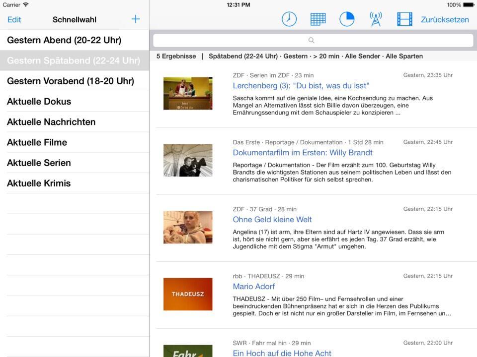 airplay app Apple Fernsehen iOS iPad media stream TV Video