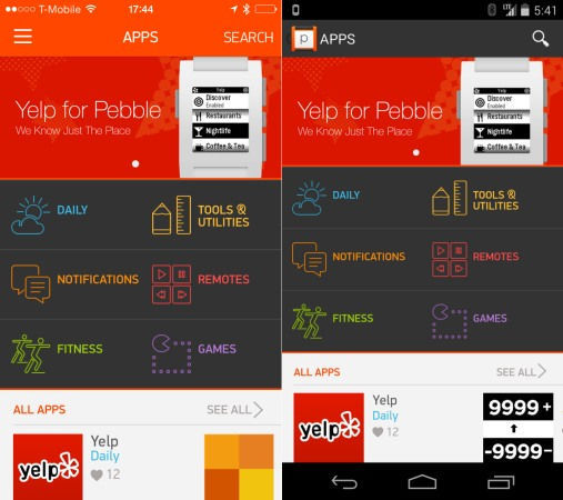 Android app store Apps iOS Pebble Wearables