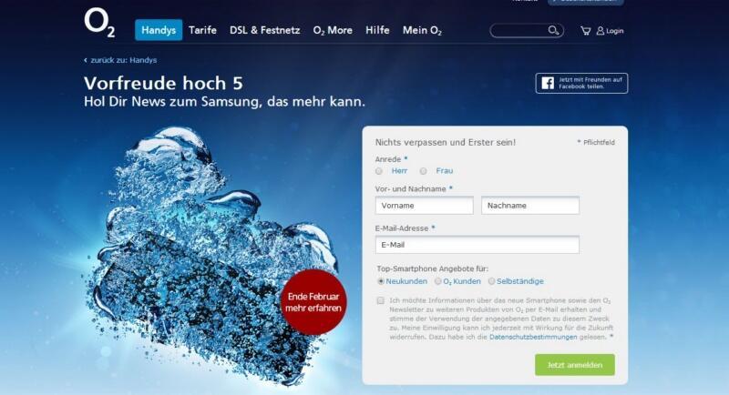 Galaxy S5 o2 s5 Samsung webseite