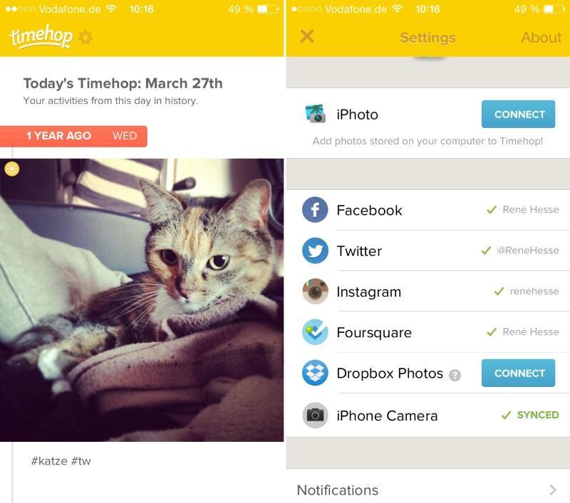 Android app iOS rückblick social timehop