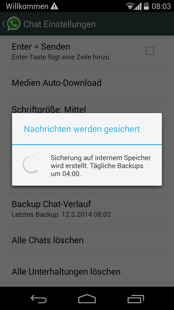 backup chat Messenger whatsapp