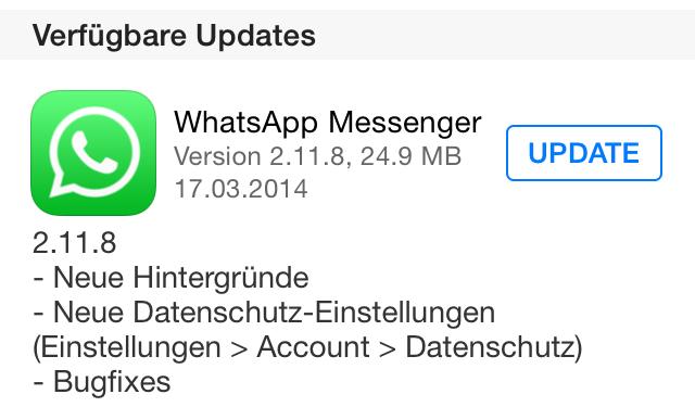 iOS Update whatsapp