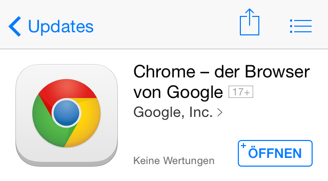 Browser chrome Google iOS Update