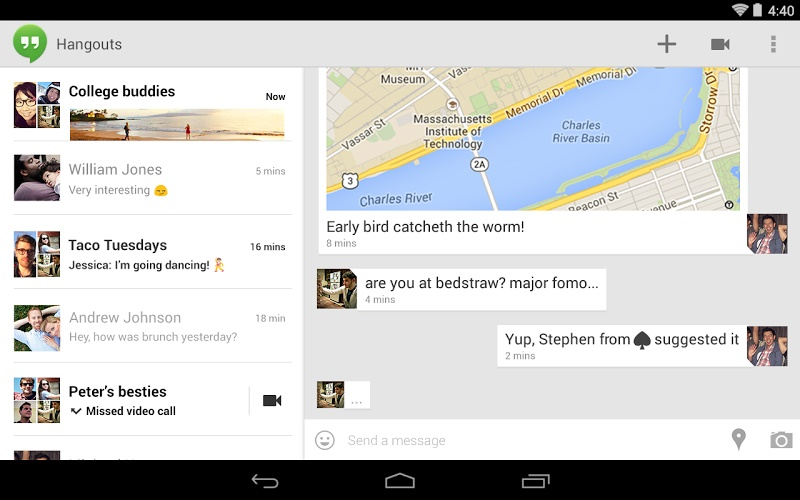 Android Google hangouts Messenger Update