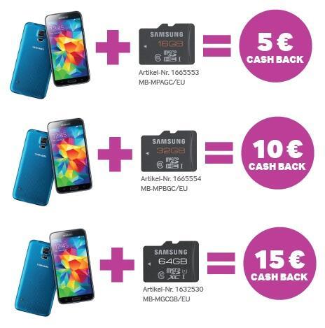 samsung cash back aktion galaxy s5 kaufen speicher erweitern und geld sparen. Black Bedroom Furniture Sets. Home Design Ideas