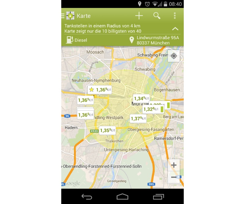 Android app Tanken