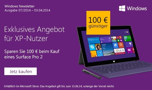 microsoft Pro Schnäppchen surface tablet Windows XP
