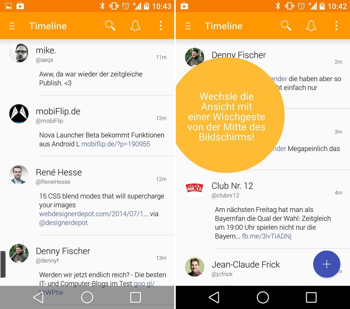 Android Android L Material Design social Talon twitter