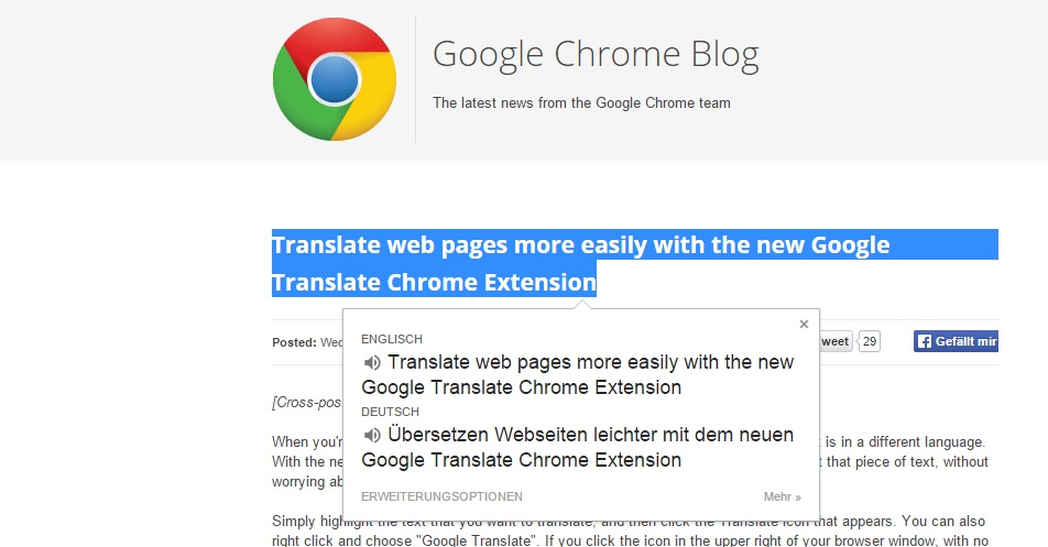 Browser chrome dektop Google Tool translate übersetzer