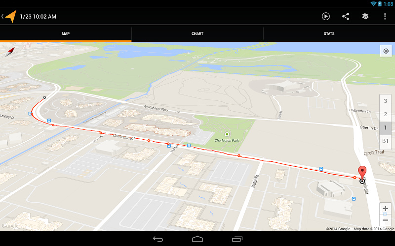 Android app Google GPS tracks wear