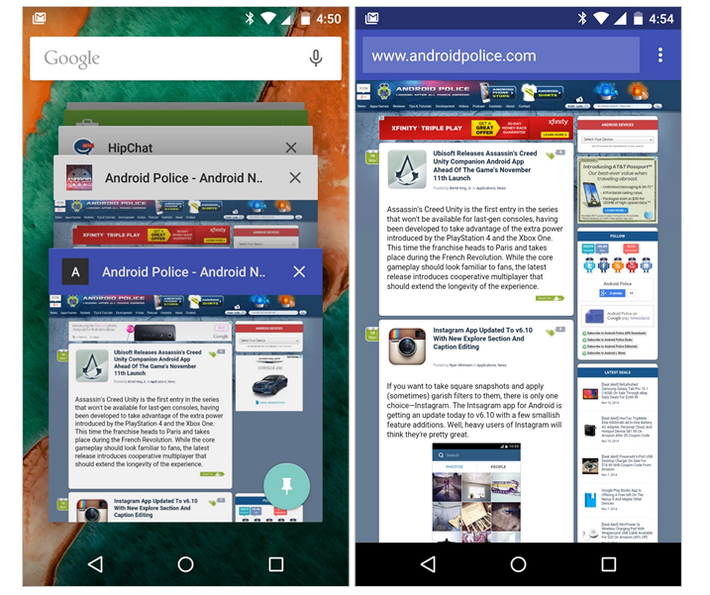 Android Browser chrome lollipop