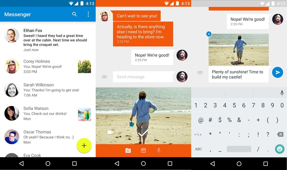 Android Google hangouts Messenger SMS