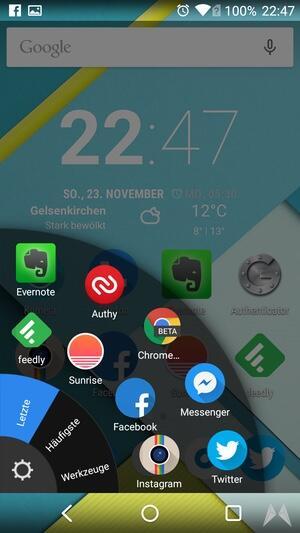 Android app Energiesteuerung launcher Wischgeste