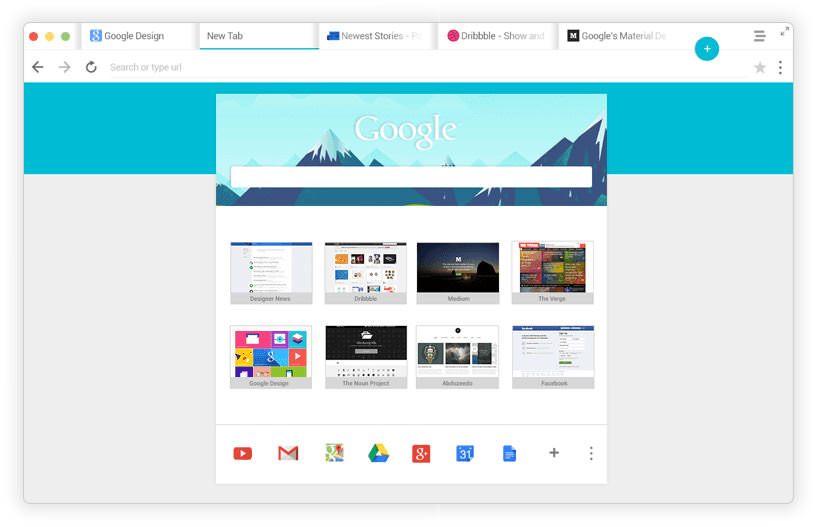 Browser chrome design Google Konzept Material Design