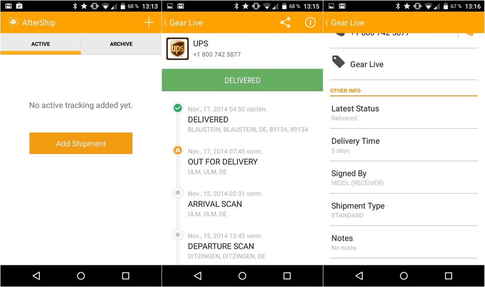 Android app paket post tracking