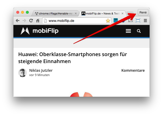 Browser chrome menü Switch user