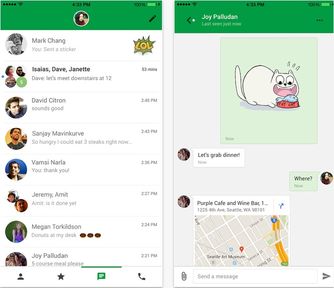Google hangouts iOS Messenger Update