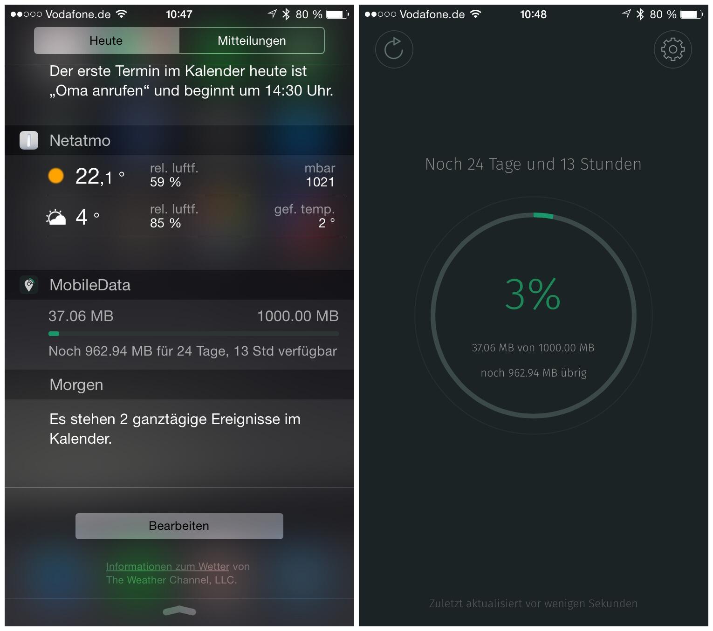 app data Daten iOS verbrauch widget