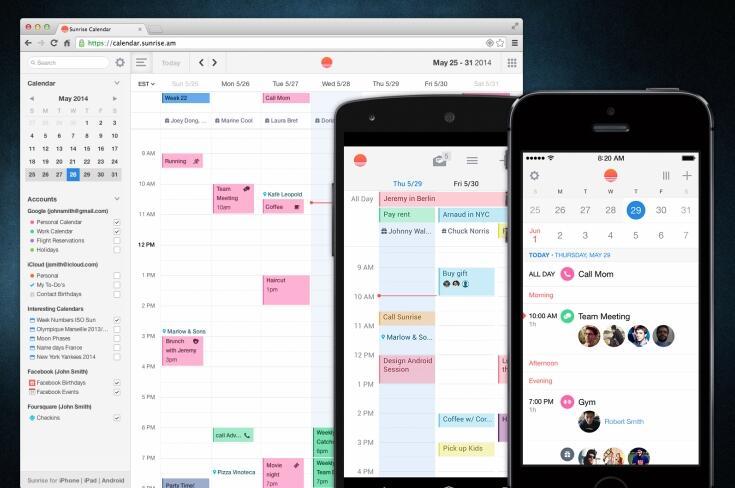 Android app iOS Kalender microsoft sunrise
