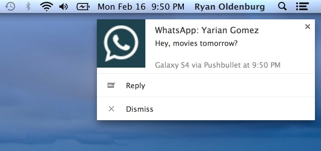 Android Messenger push PushBullet whatsapp