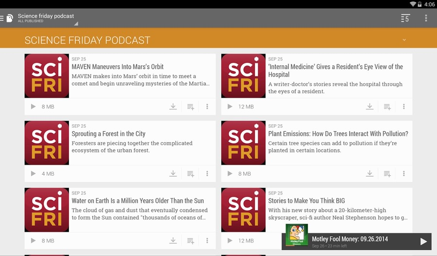 Android app Material Design podcast Podcasts Update