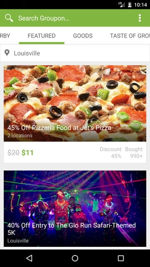 Android app deals groupon Material Design Update