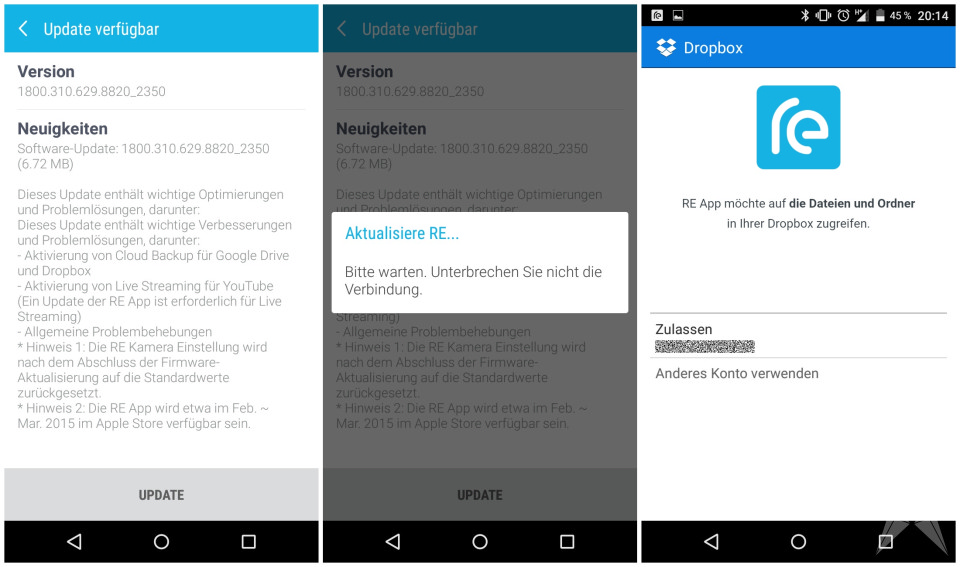 Android HTC Kamera re Update