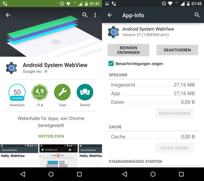 Android app System Update webview