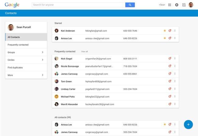 beta Google Kontakte material Preview Update vorschau web