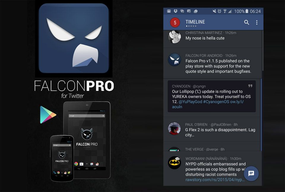 Android app Falcon Pro 3 social twitter