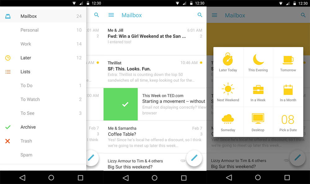 Android app E-Mails mailbox Material Design Update