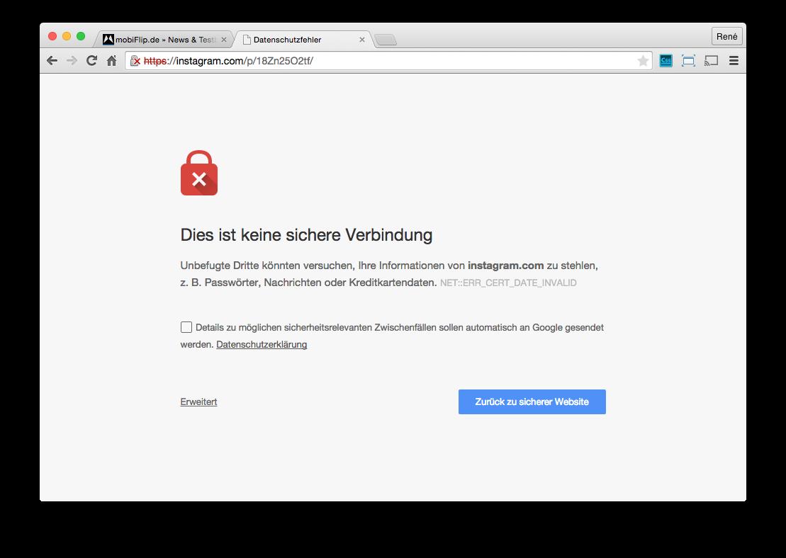 Browser chrome instagram Sicherheit social